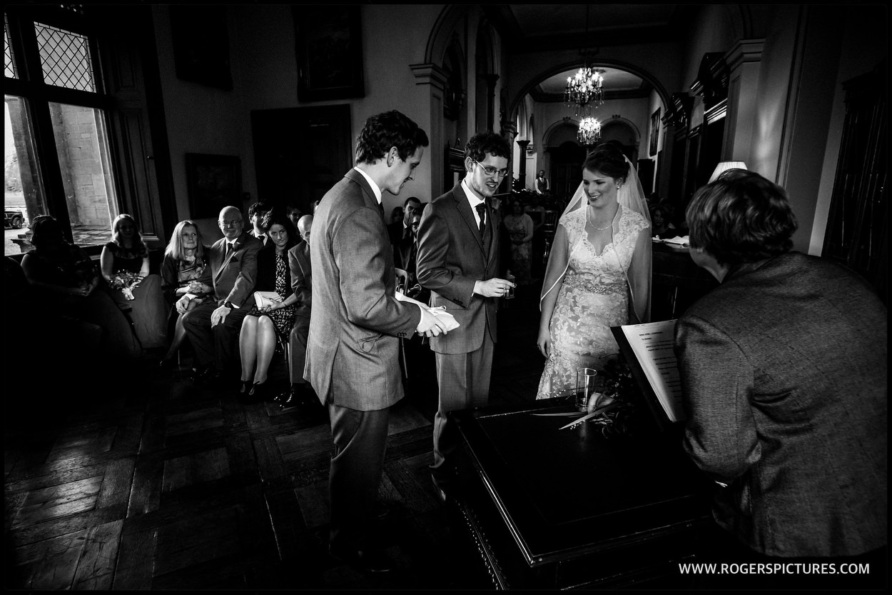 Black and white photo of a wedding at Orchardleigh House