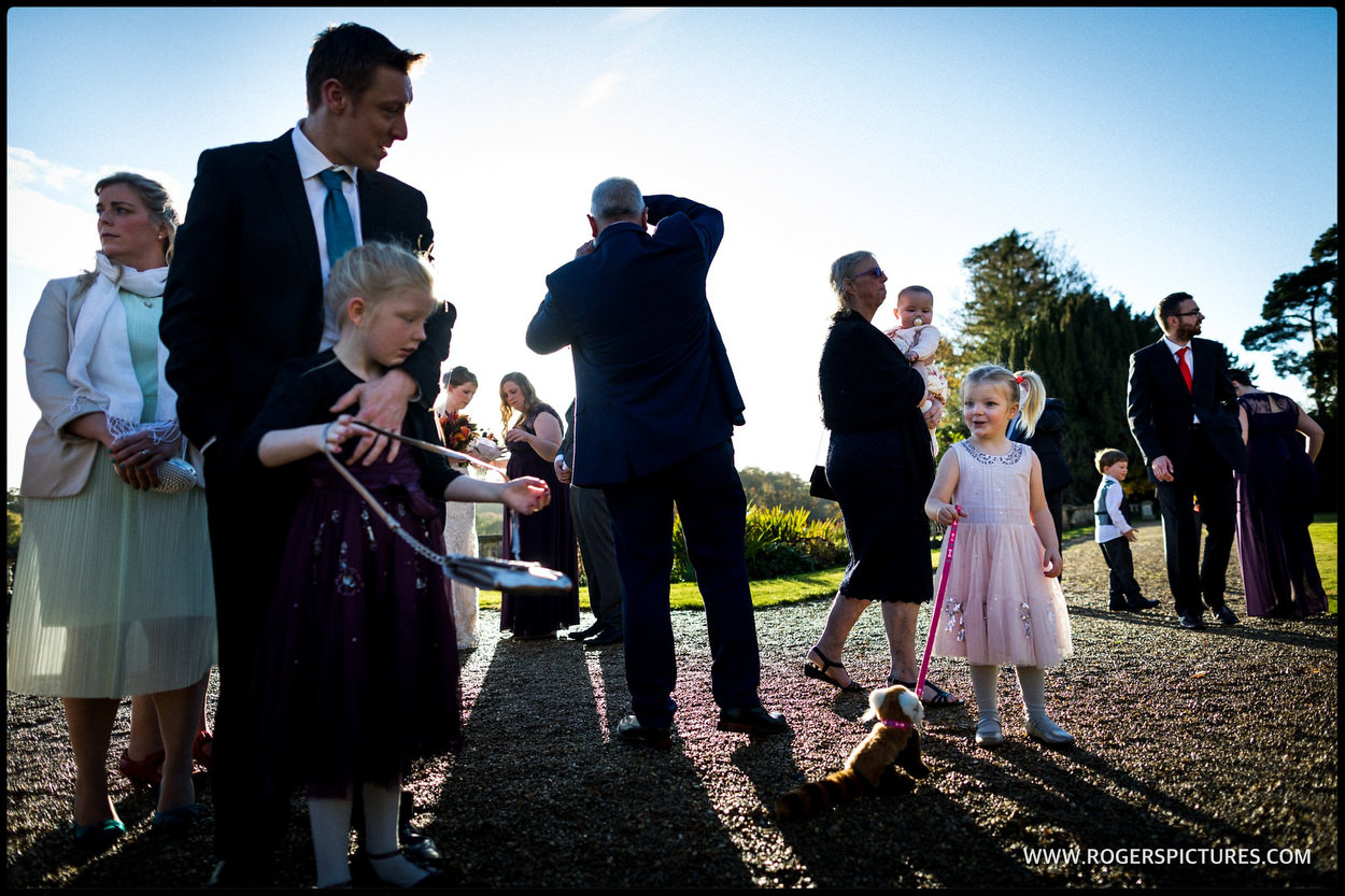 Wedding guests out doors at Orchardleigh House