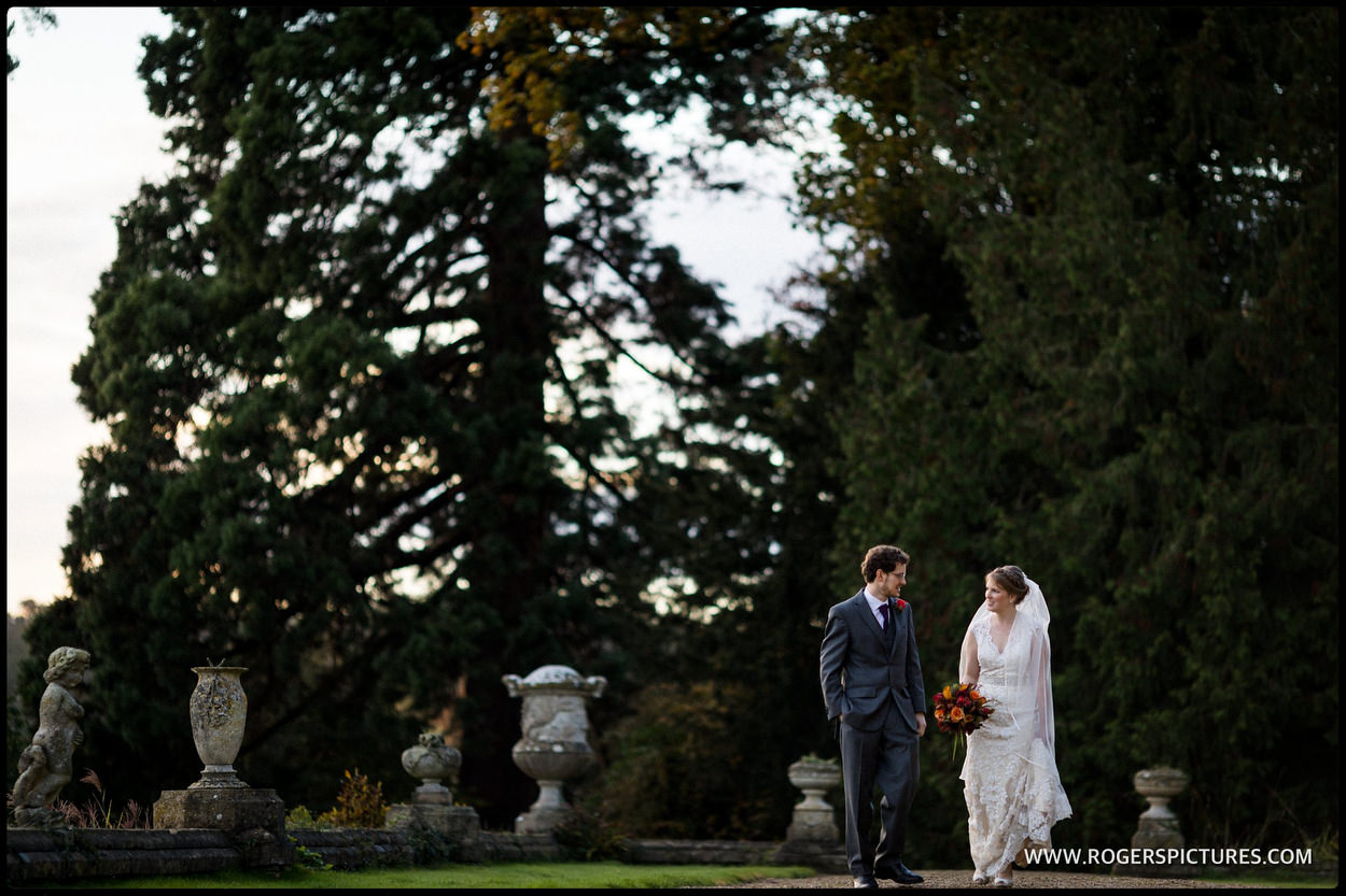 Bride and groom in the grounds at Orchardleigh House