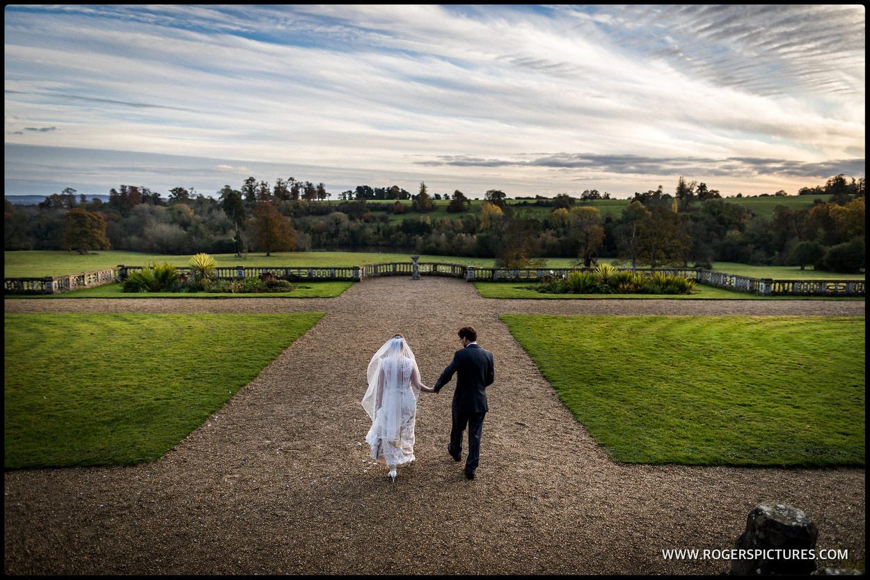 Bride and groom portrait at Orchardleigh House