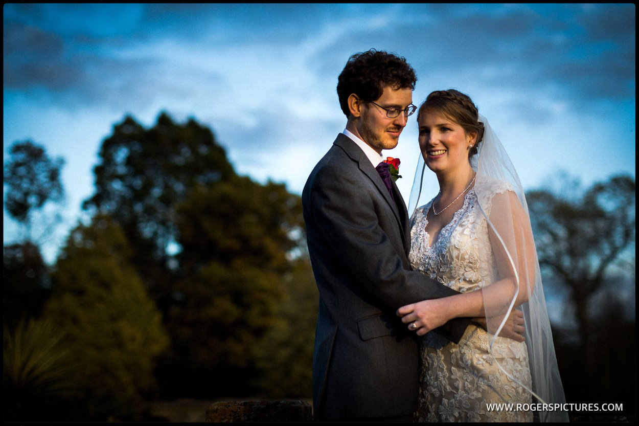 Portrait of newly married husband-and-wife at Orchardleigh House