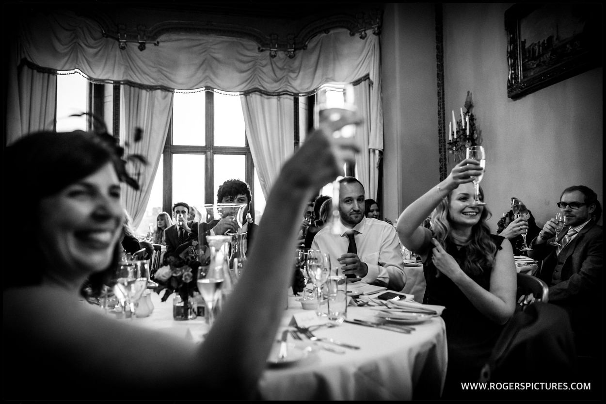 Guests toast Married couple