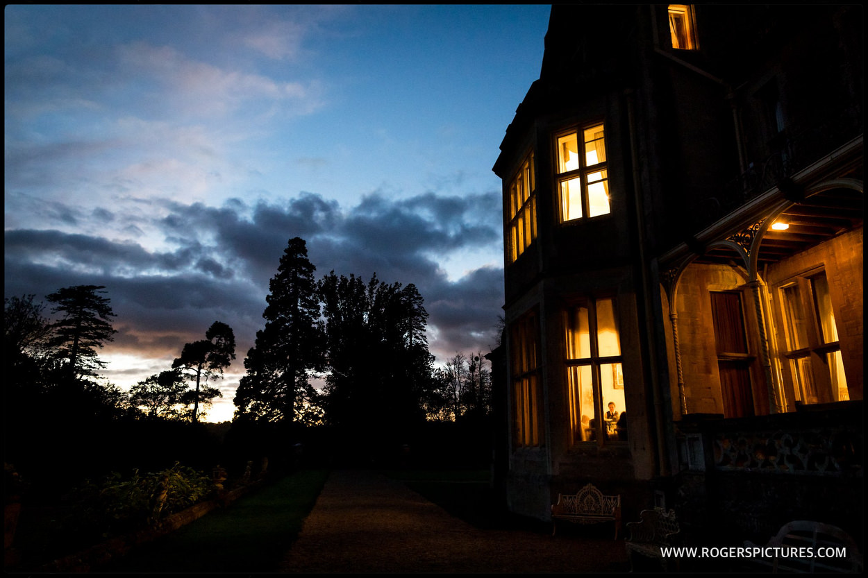 Orchardleigh House by sunset in Somerset