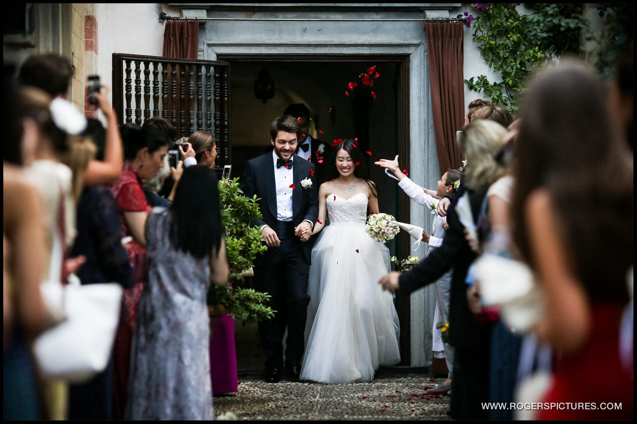 Bride and groom in portofino wedding