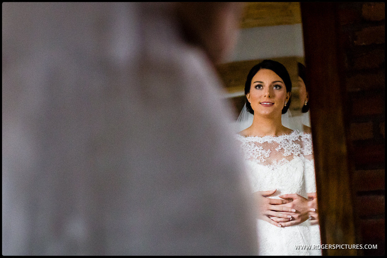 Bride checking in the mirror