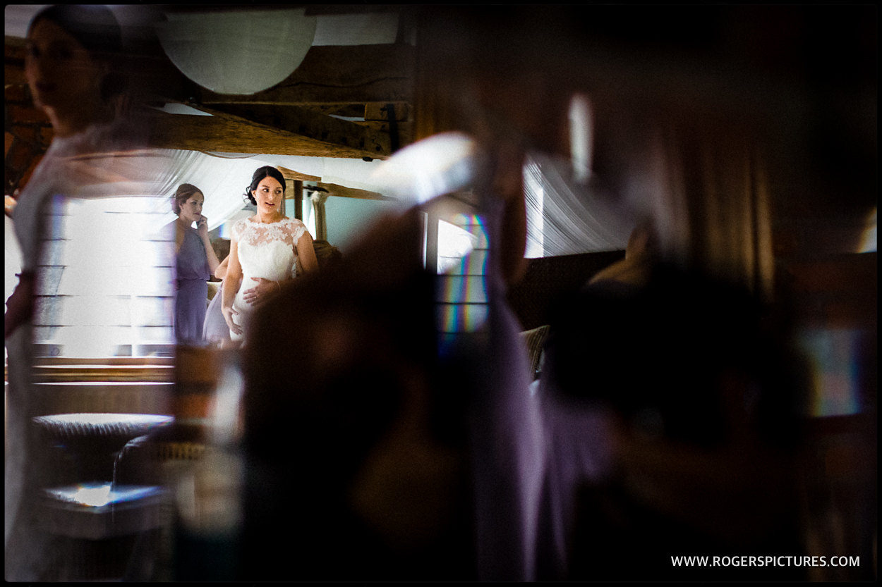 Brides final preparations before a Berkshire barn wedding