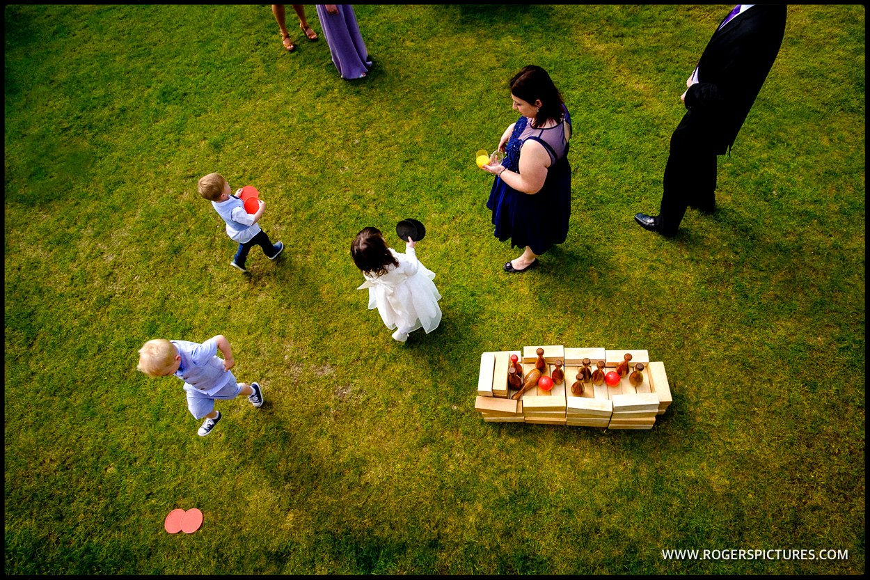 Aerial view of children playing at a wedding
