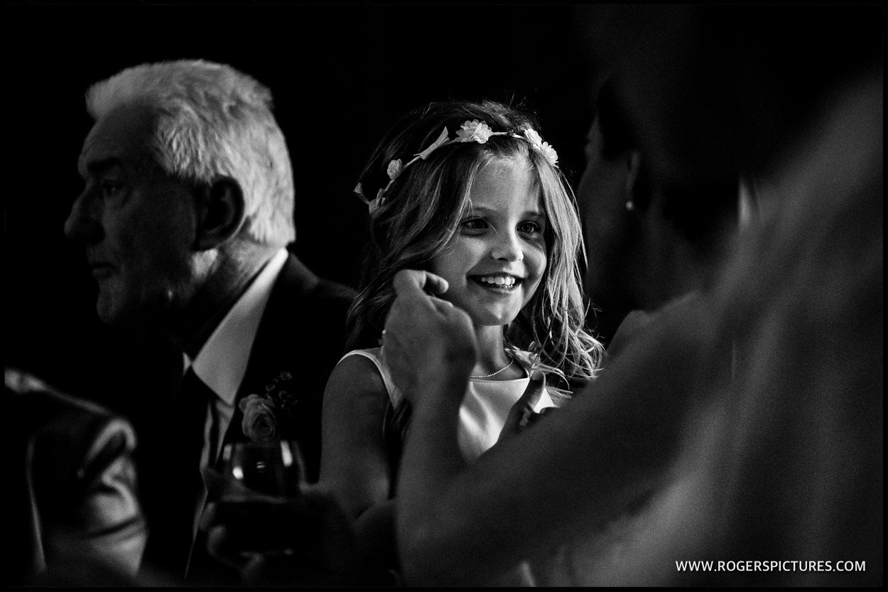 Black and white picture at a wedding