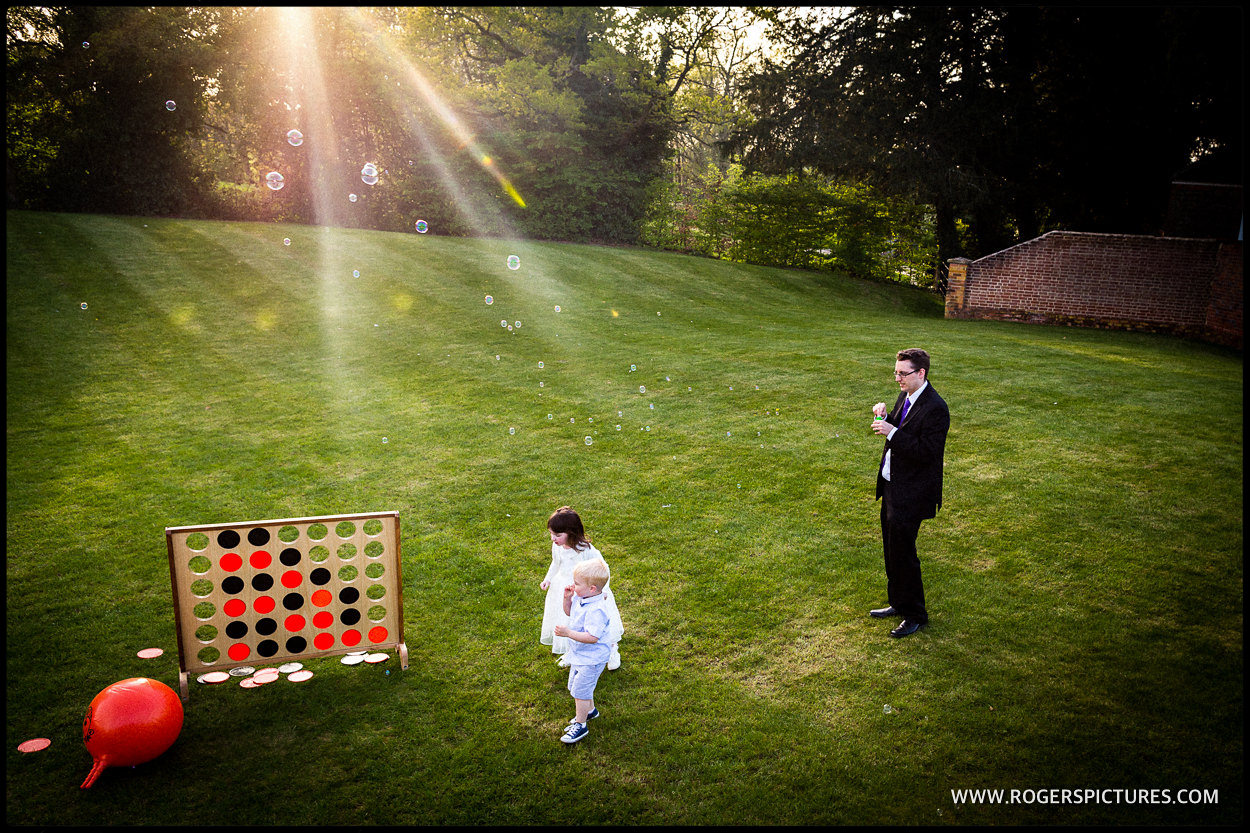 Garden games at a wedding