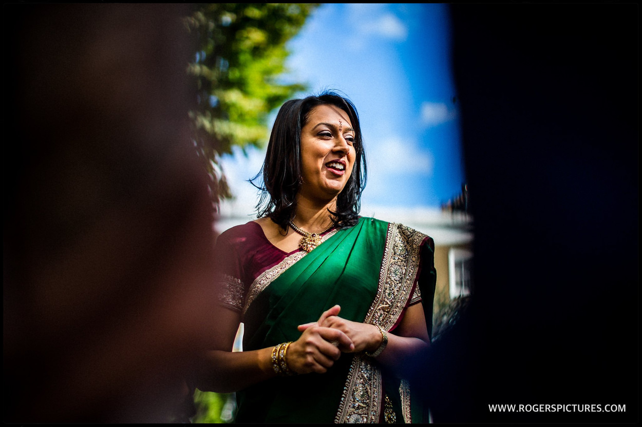 Indian wedding guest at Kensington Temple