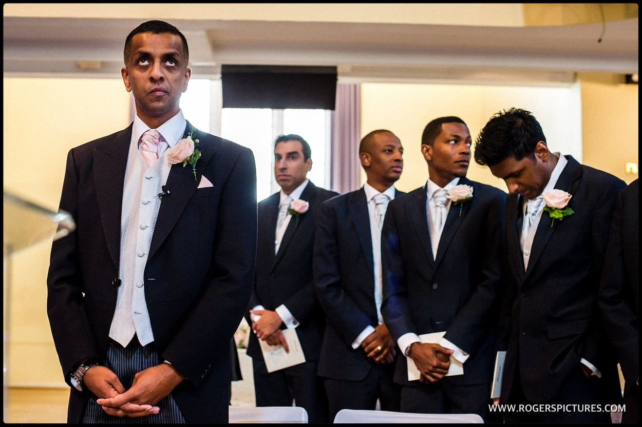Groom and groomsmen at Kensington Temple