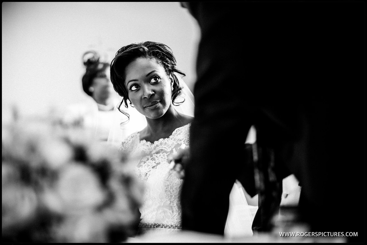 Monotone photograph of the bride
