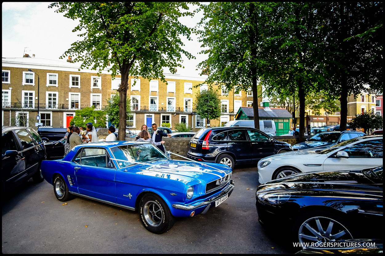 Blue Mustang wedding car