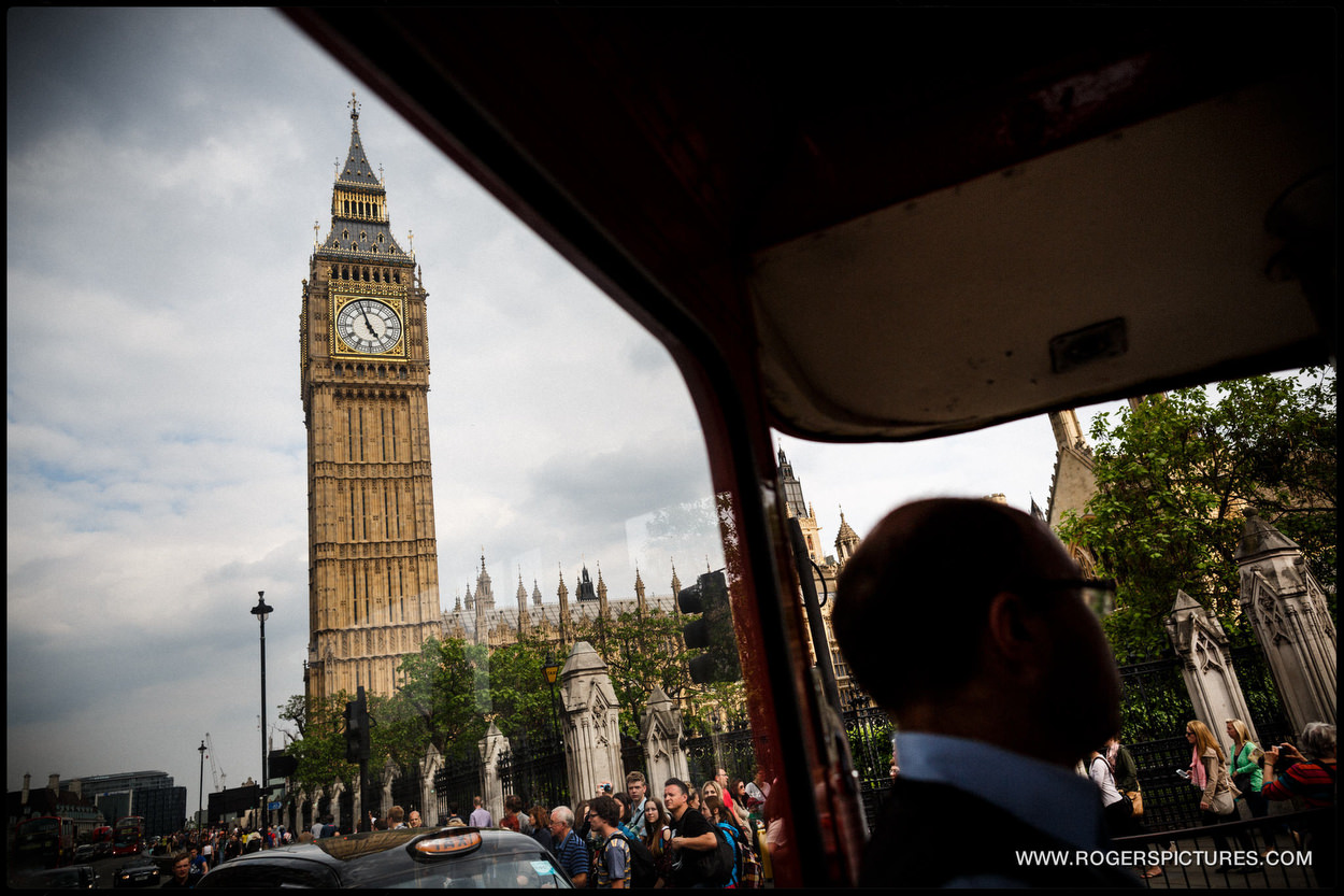 Parliament and Big Ben through a wedding bus