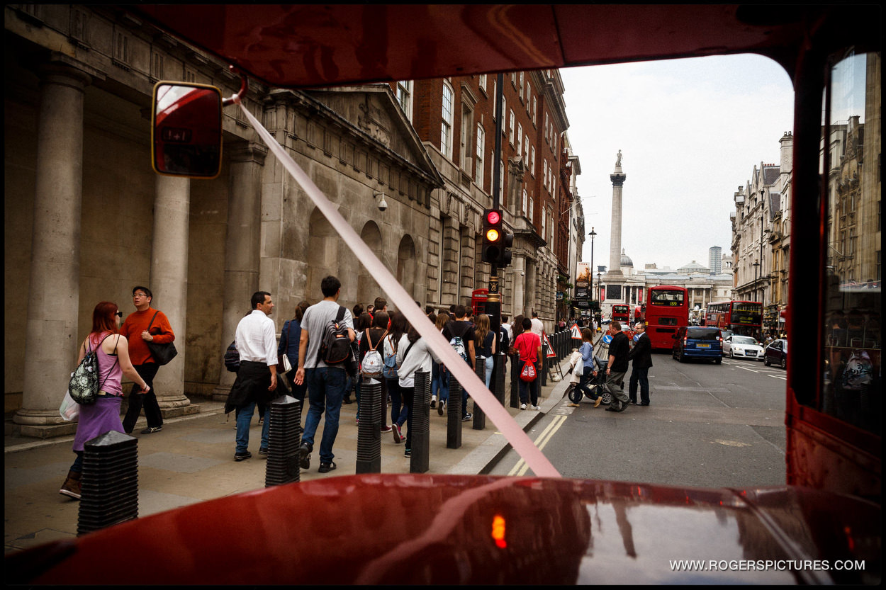 Trafalgar Square through a wedding bus