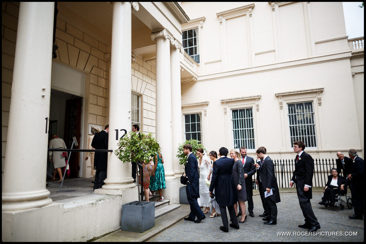 Guests arriving amor a wedding at ICA in London