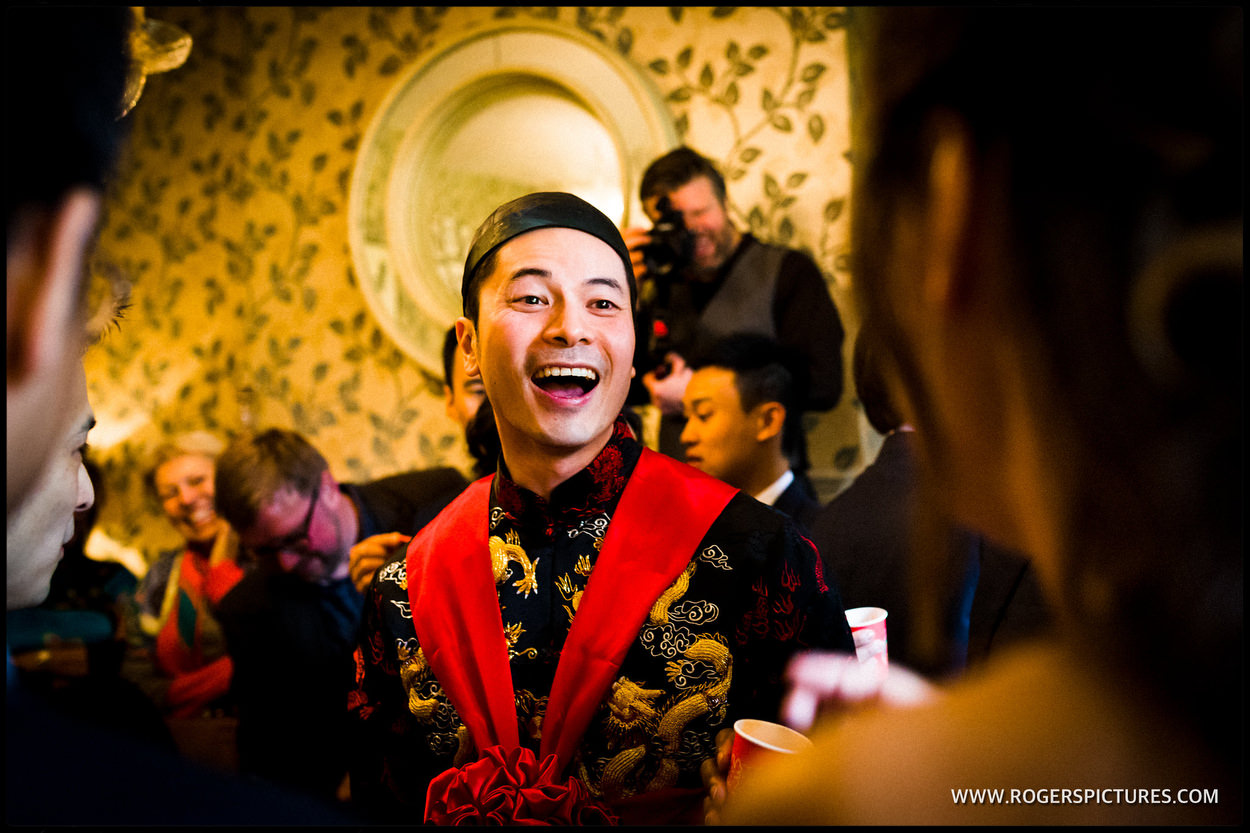 Chinese groom at Babington House wedding