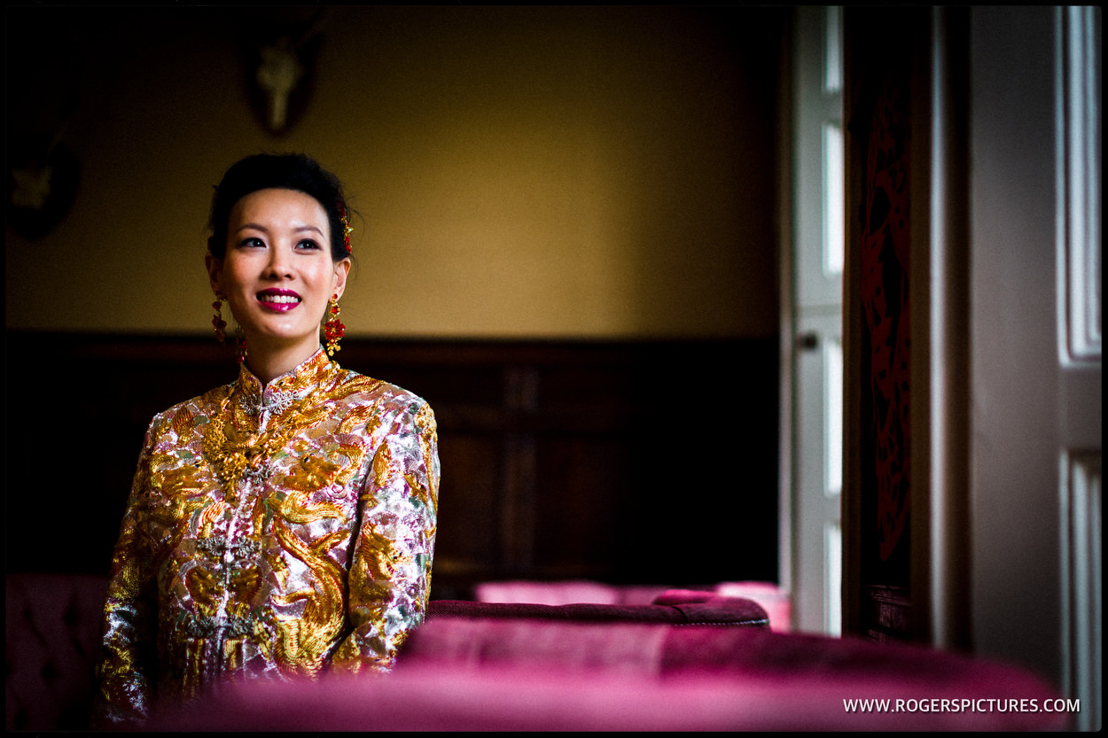 Portrait of a Bride before getting married at Babington House