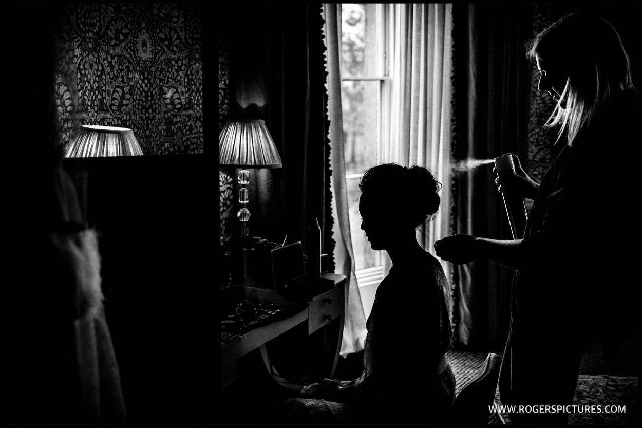 Brides preparations at Babington House in Somerset