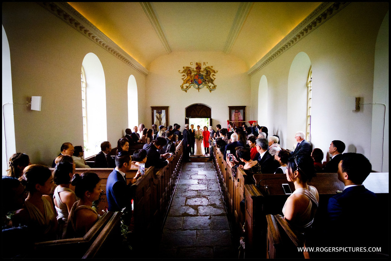 Church wedding at at Babington House in Somerset