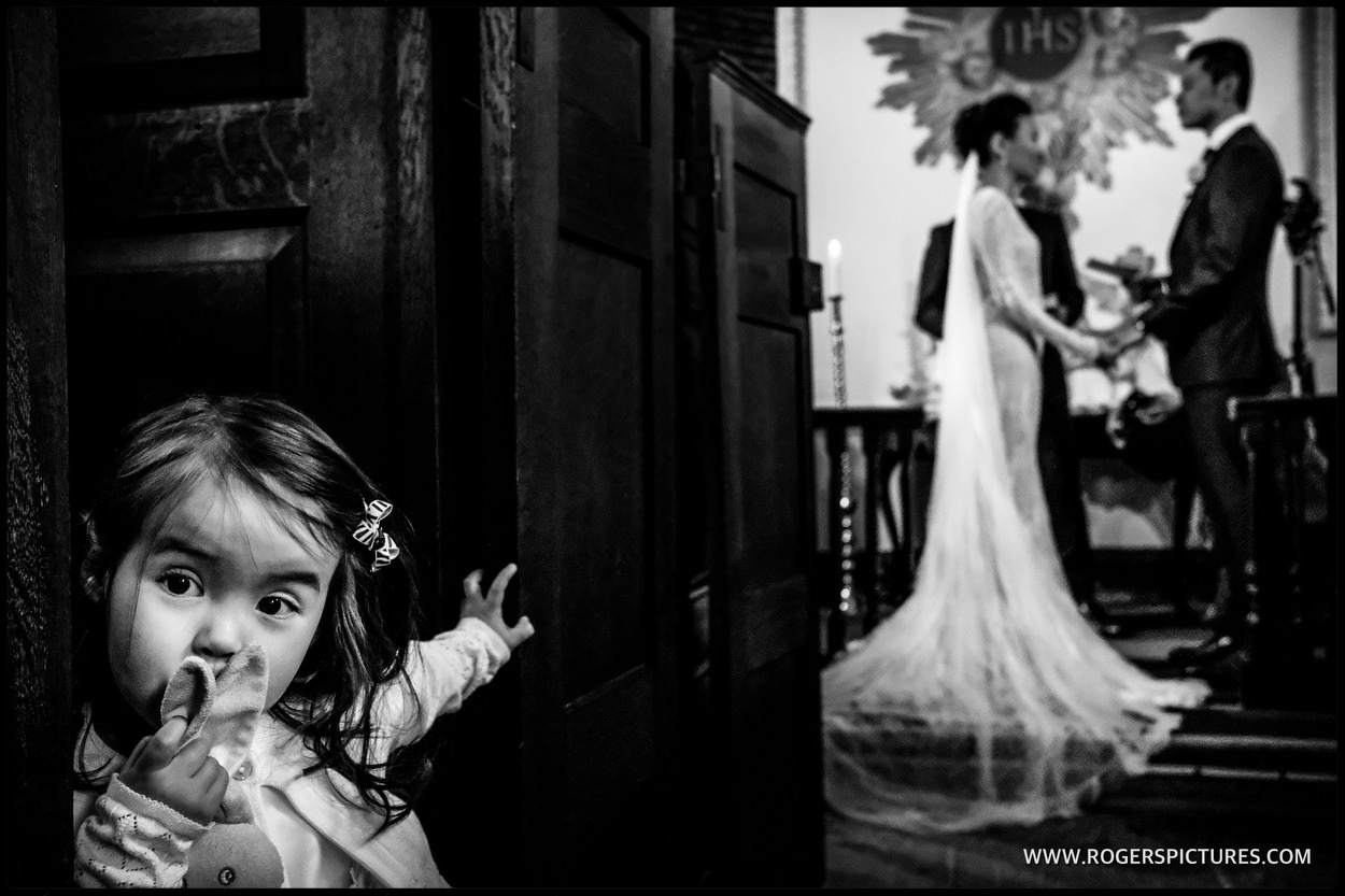 Wedding guest at Babington House church wedding