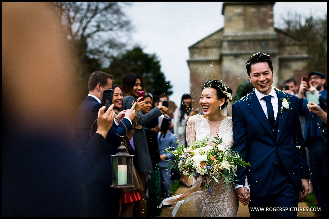 Bride and groom outside the church at Babington house