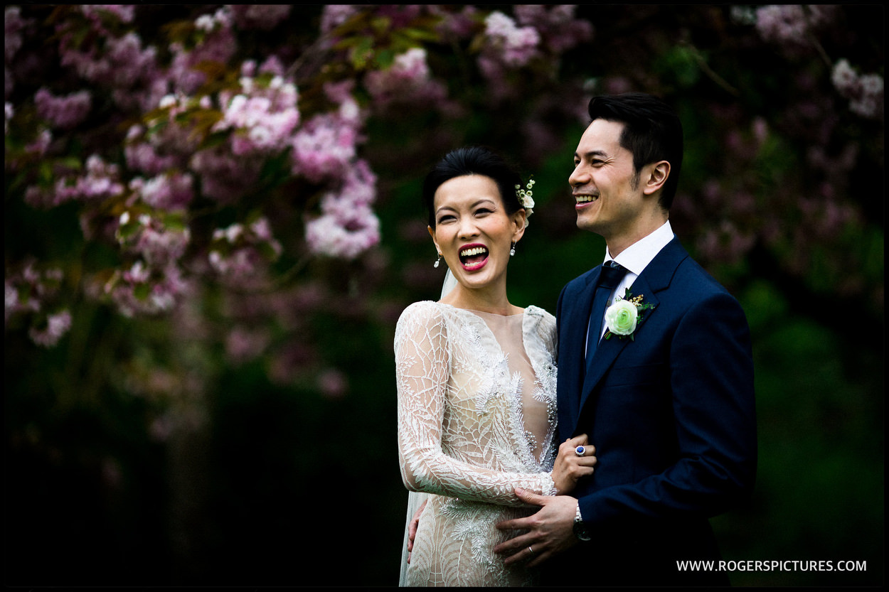 Bride and groom portrait at Babington House in Somerset