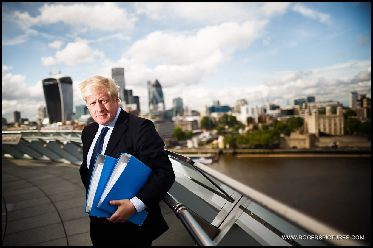 Mayor of London Boris Johnson on the balcony of City Hall overlooking the Thames, with his plans for an airport in the Thames Estuary.