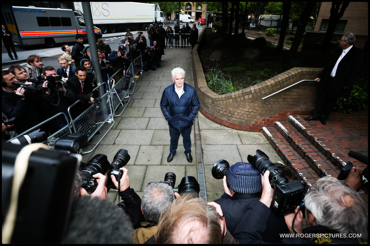 Publicist Max Clifford arrives at Southwark Crown Court for sentancing after being found guilty of sexual assult charges.