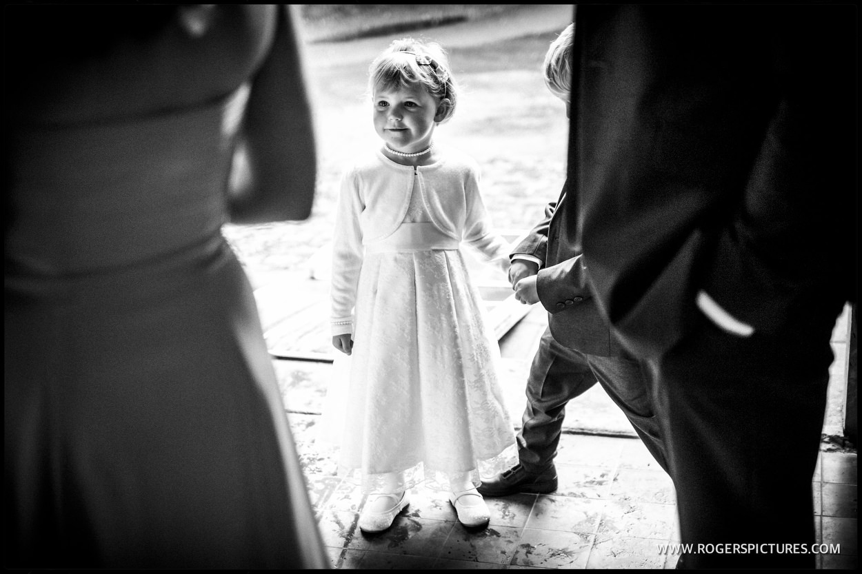Flower girl in black-and-white