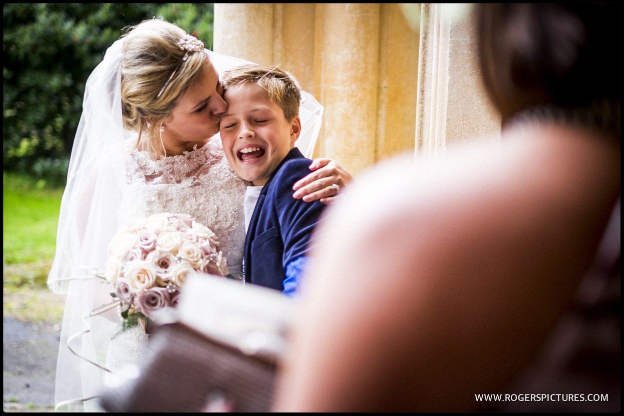 Smiling boy with bride