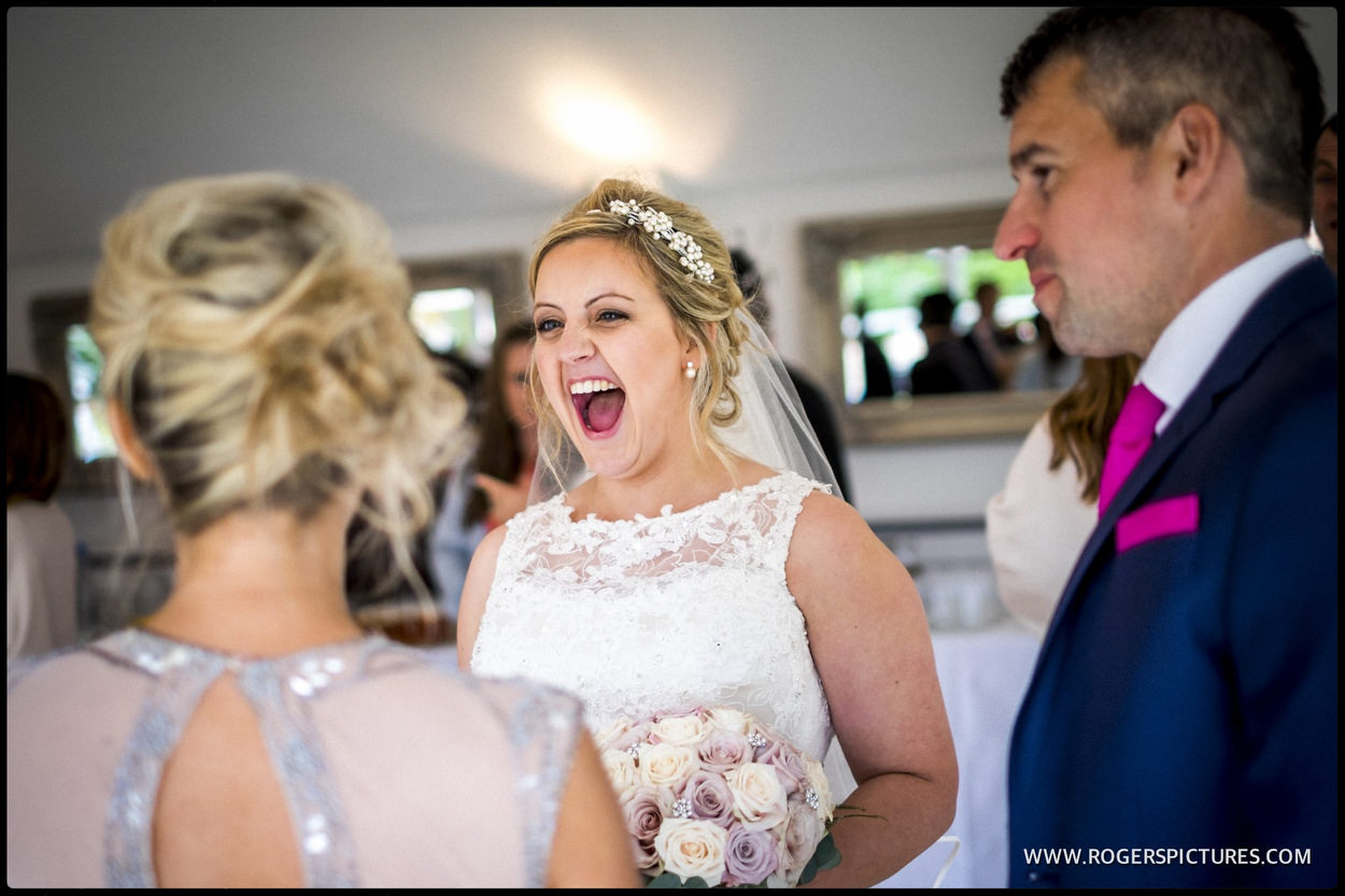 Happy bride at wedding reception