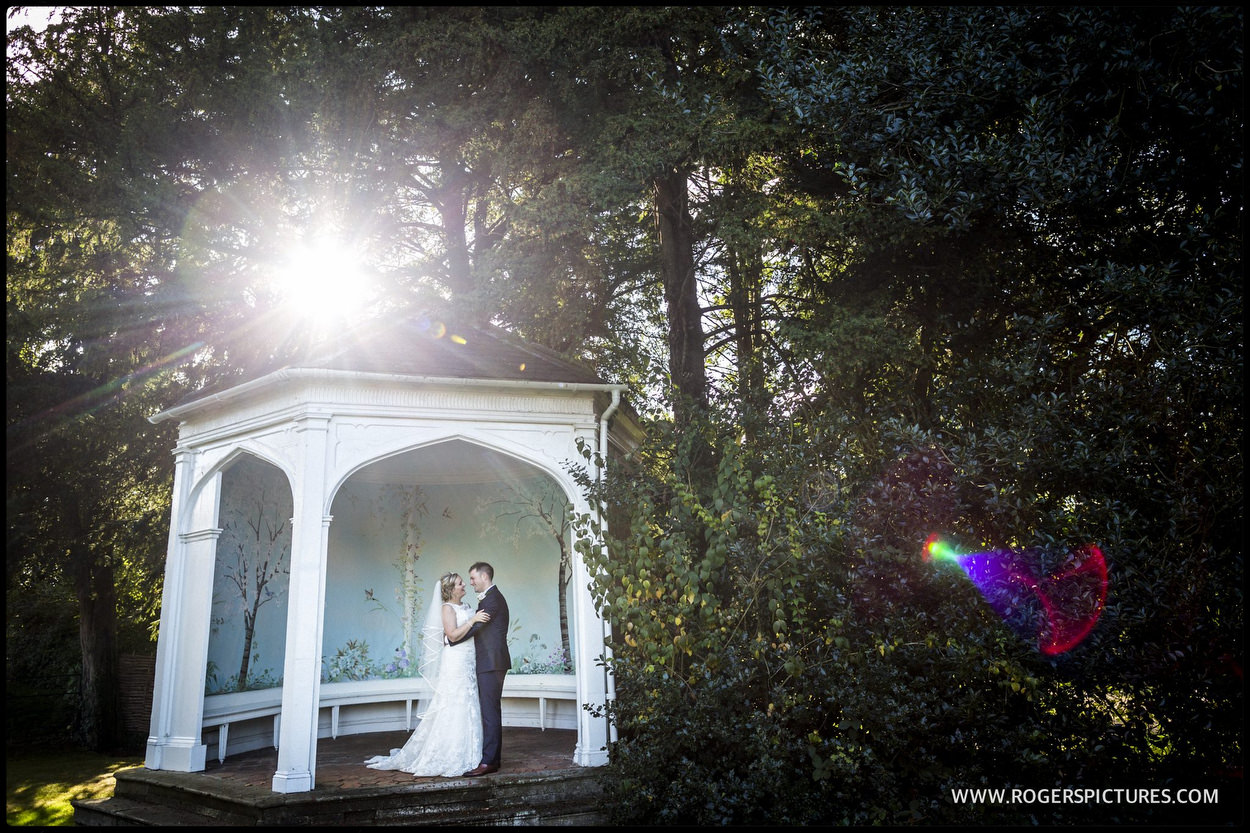 Wedding portrait in summerhouse