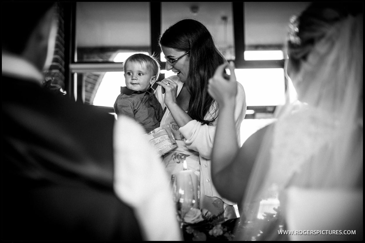 Mum and baby at Wasing Park wedding