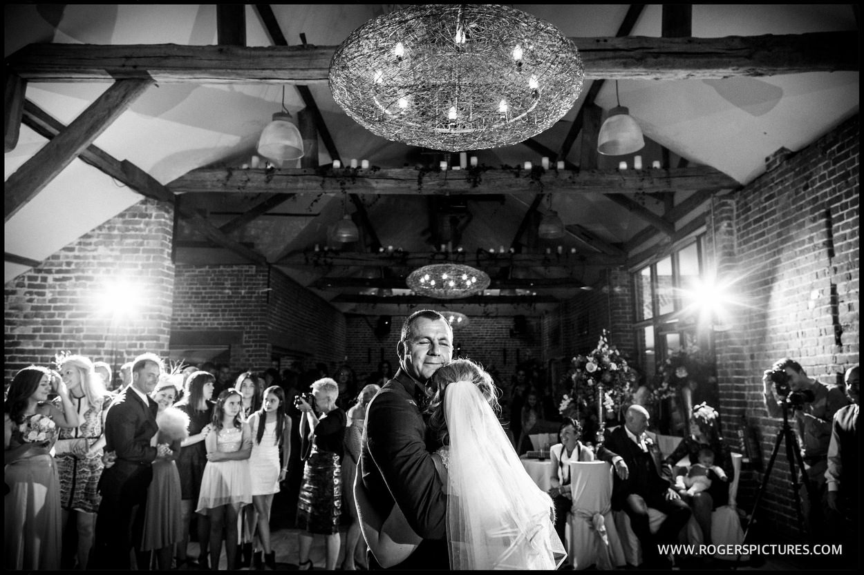 Black and white picture of a first dance
