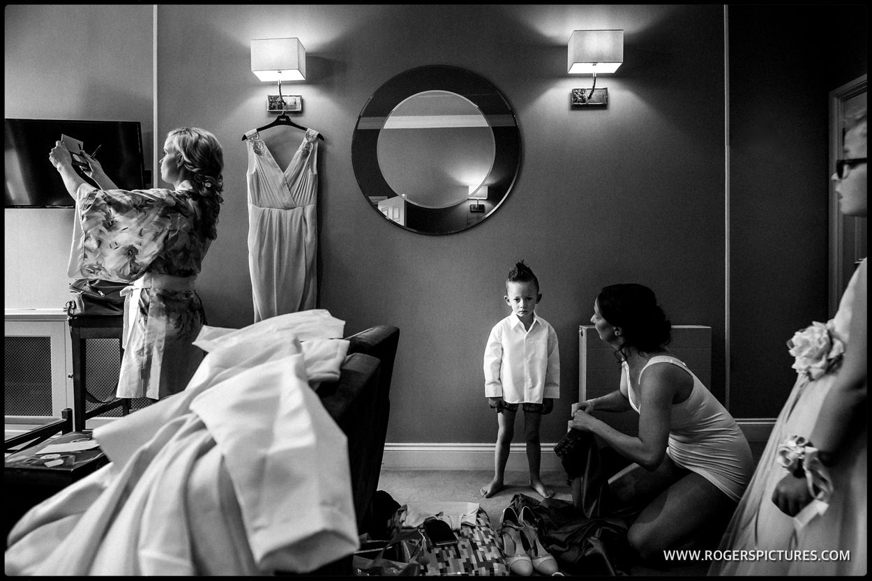 Bride and page boy preparations before a marriage