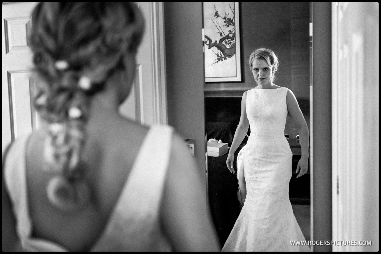 DOcumentary wedding photograph bride in mirror