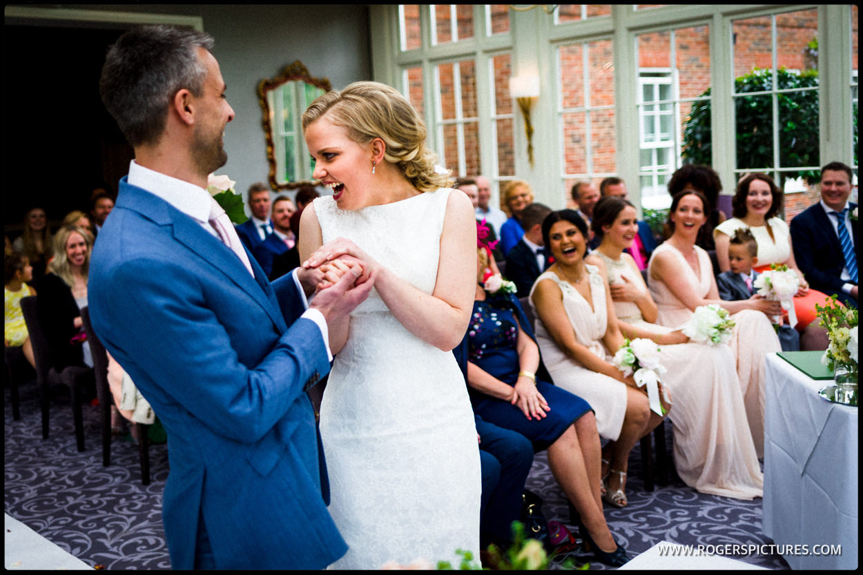 Bride and groom in wedding ceremony at St Michael's Manor Hotel