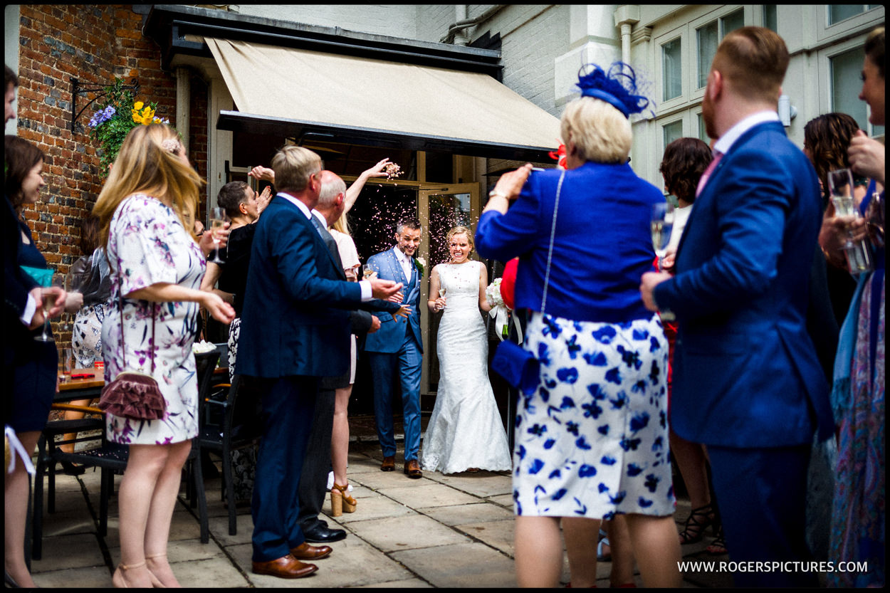 Wedding couple outside St Michael's Manor hotel in St Albans