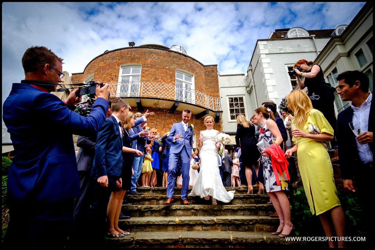 Confetti outside St Albans wedding