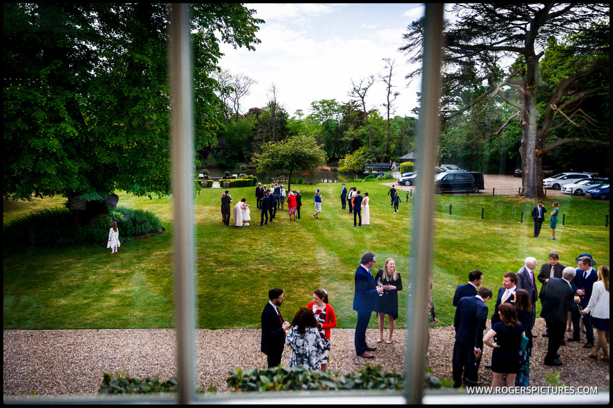 Outdoor guests at SUmmer wedding in Hertfordshire
