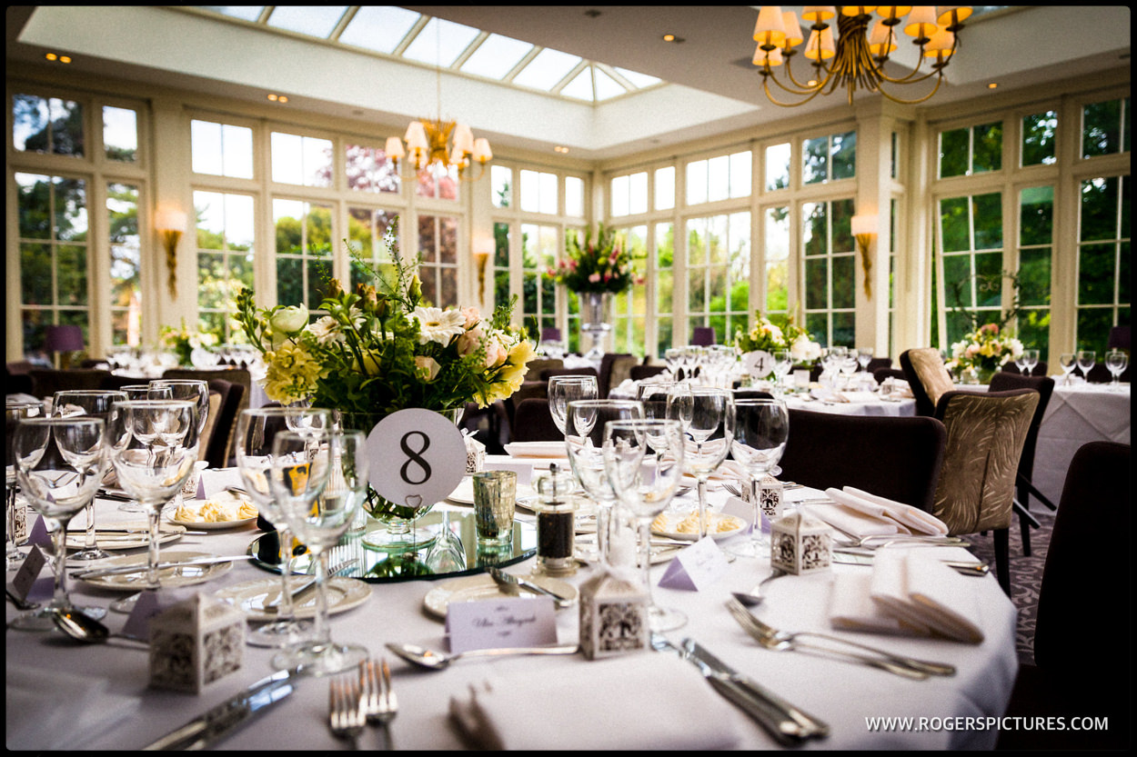 Wedding breakfast setting at St Michael's Manor Hotel