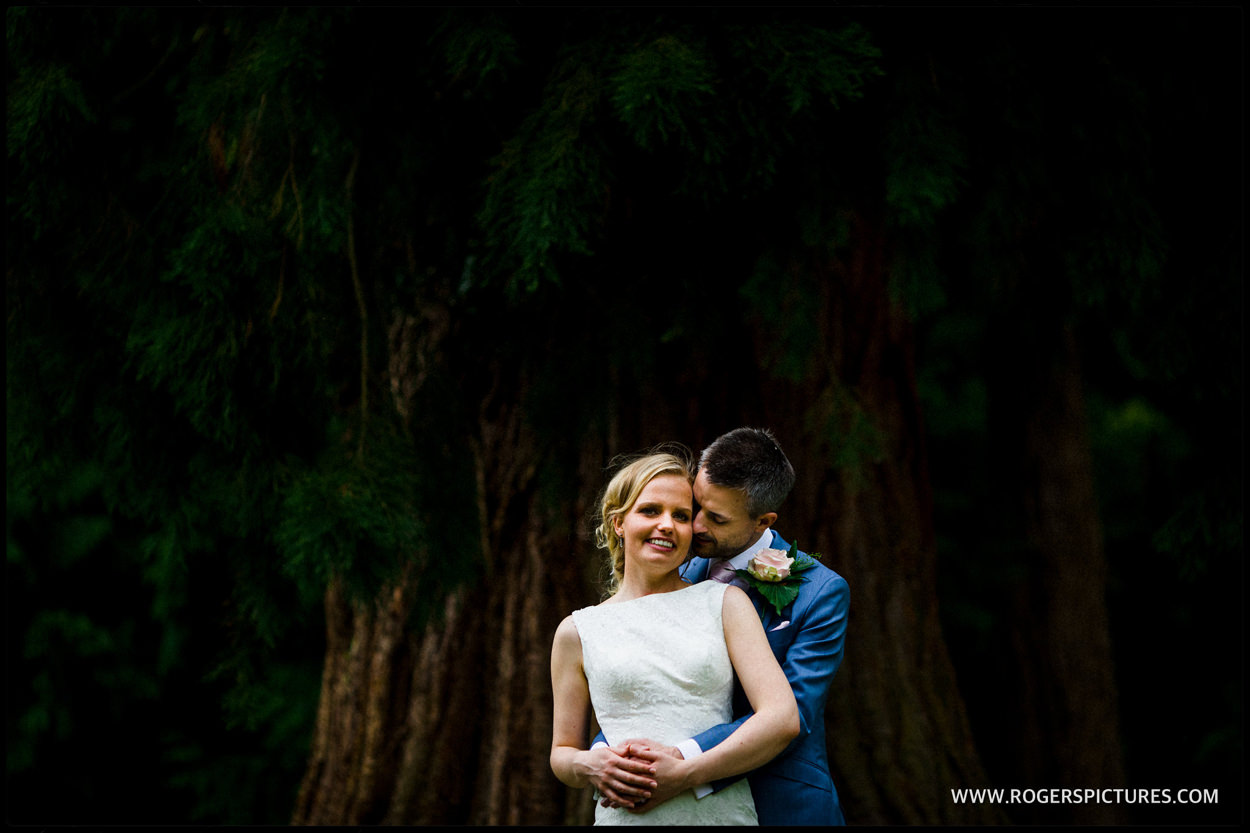 picture of bride and groom in St Michael's Manor gardens in St Albans