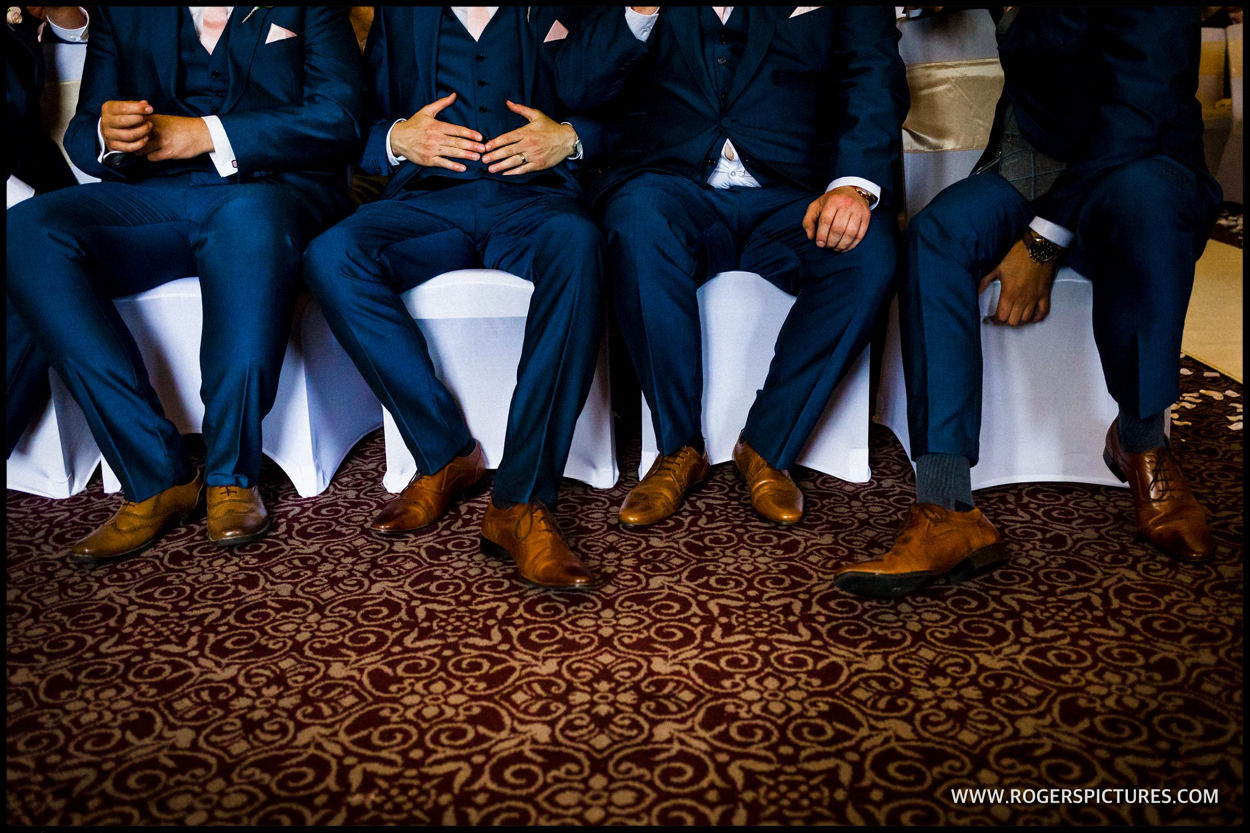 Detail of groomsmen's shoes before the wedding ceremony