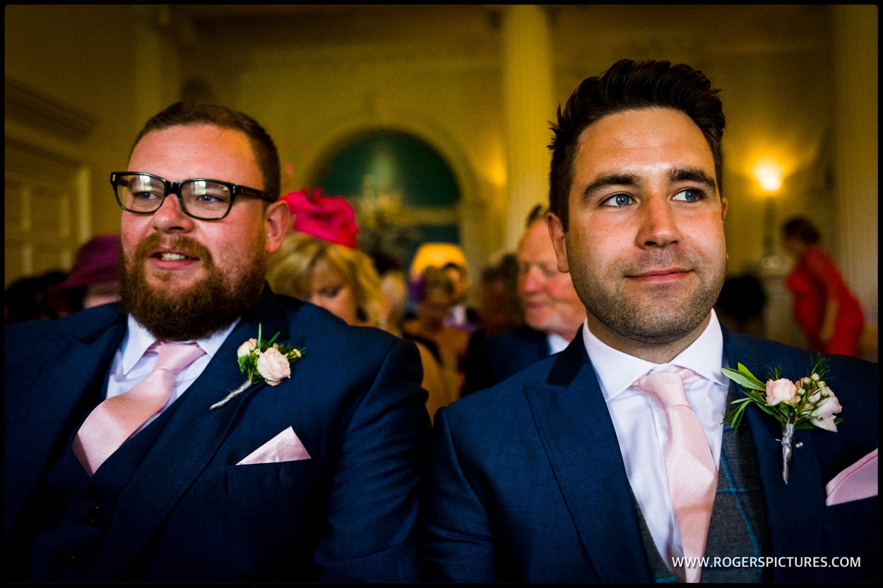 Groom and best man before his marriage in Sussex