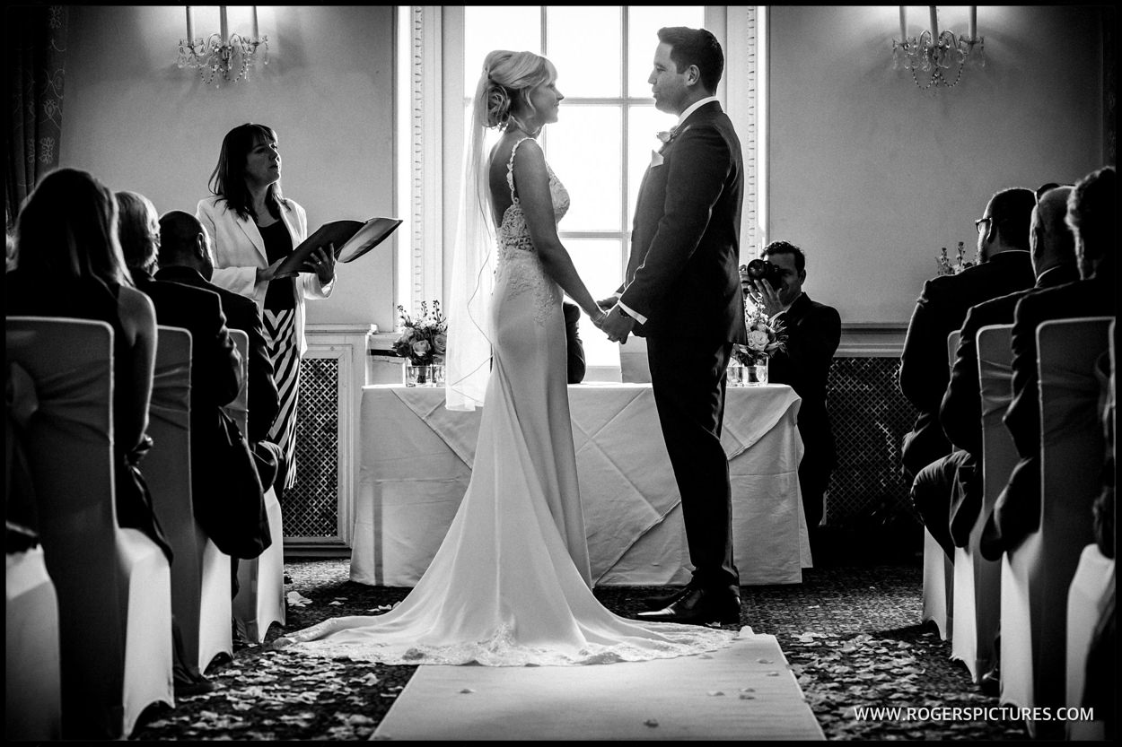 Black-and-white picture of buxted Park wedding ceremony