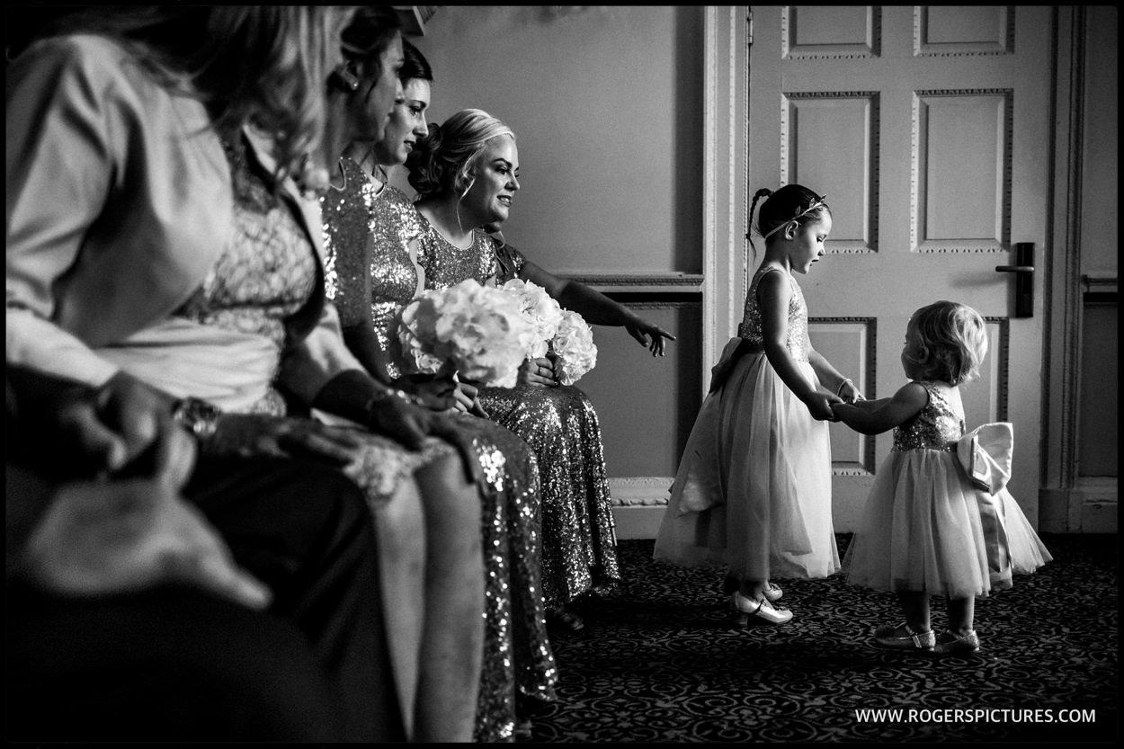 Flower girls during wedding ceremony