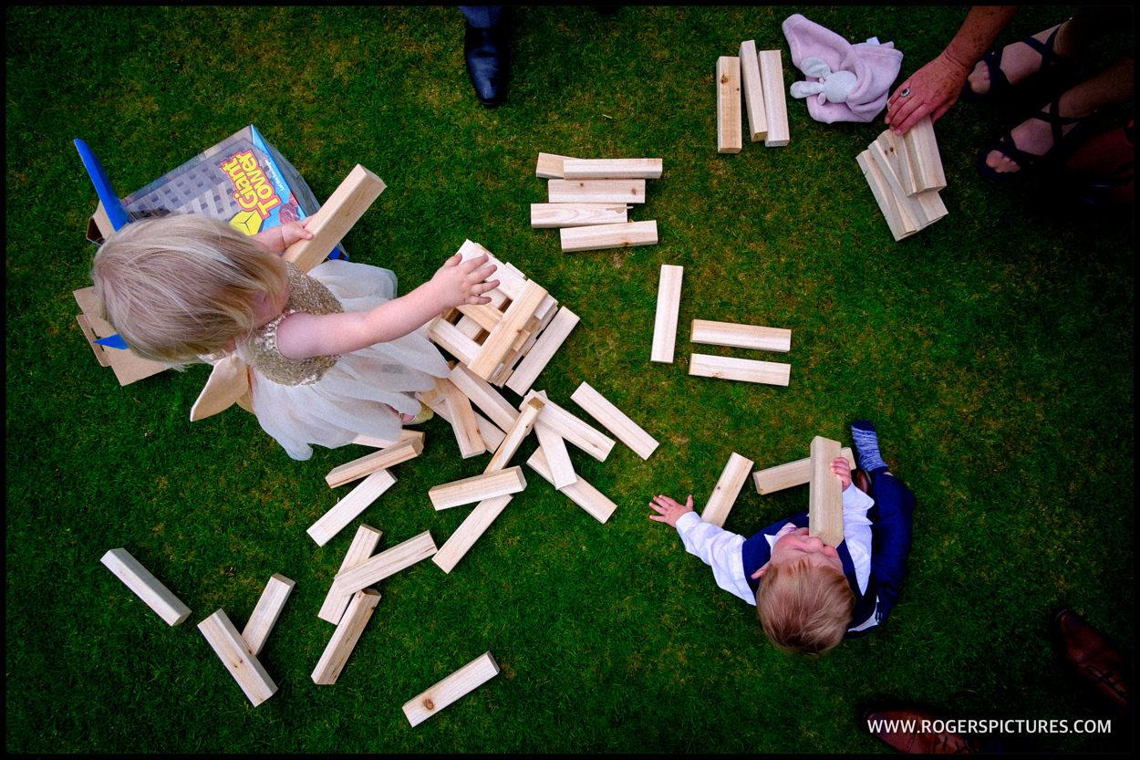 Children's games in the garden after a Wedding in Sussex