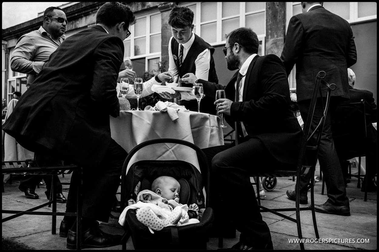 Family with the baby at a wedding reception