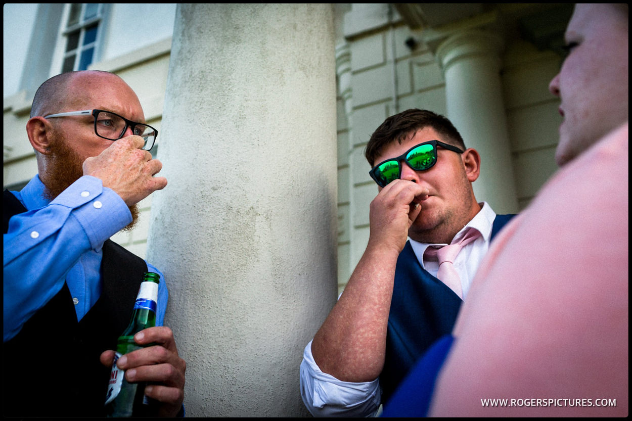 Wedding guests smoking